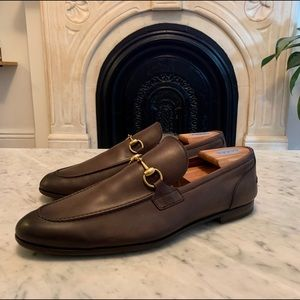 GUCCI JORDAAN BROWN LEATHER HORSEBIT LOAFER 12
